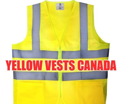 "The cover photo of the Facebook page ""Yellow Vests Canada."""