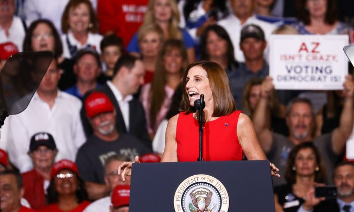 Rep. Martha McSally at a Make America Great Again rally in Mesa, Arizona, on Oct. 19, 2018. She was appointed to a vacancy in the U.S. Senate on Dec. 18, 2018, effective on Jan. 1, 2019. (Charlotte Cuthbertson/The Epoch Times)