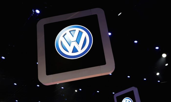 Volkswagen logos are pictured during the media day of the Salao do Automovel International Auto Show in Sao Paulo, Brazil on Nov. 6, 2018.   (Paulo Whitaker/Reuters)