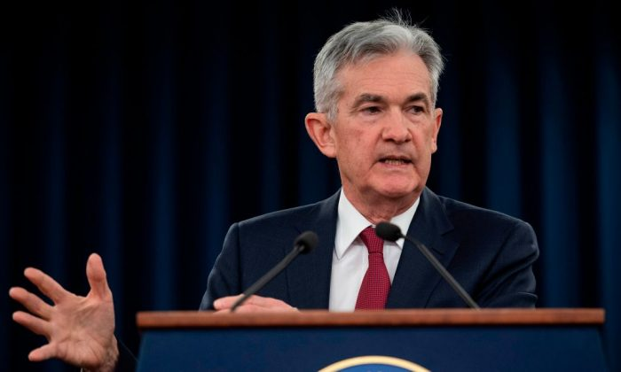 U.S. Federal Reserve Board Chairman Jerome Powell holds a news conference after a Federal Open Market Committee meeting in Washington on Dec. 19, 2018. (JIM WATSON/AFP/Getty Images)