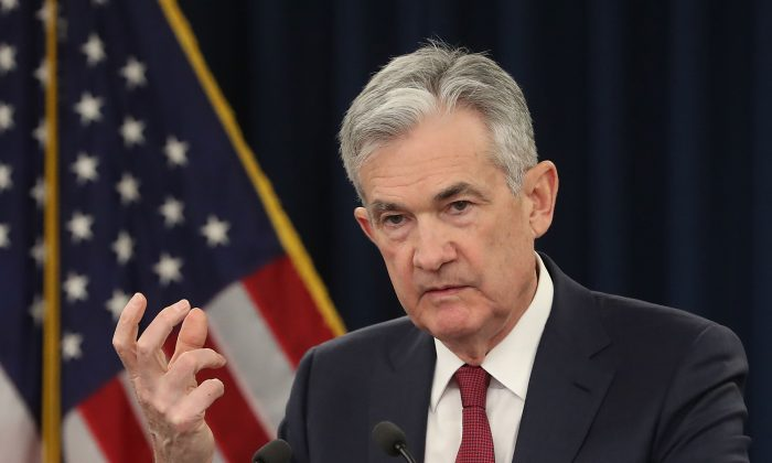 U.S. Federal Reserve Board Chairman Jerome Powell speaks during a news conference in Washington on Dec. 19, 2018. (Mark Wilson/Getty Images)
