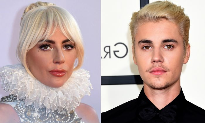 "Lady Gaga at the ""A Star is Born"" premiere in London, on Sept. 27, 2018. (Anthony Harvey/ AFP/Getty Images) and Justin Bieber at the 58th Grammy Awards in Los Angeles, on Feb. 15, 2016. (Jason Merritt/Getty Images)"