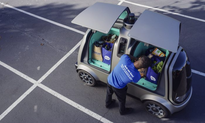 The Kroger Co. shows an autonomous vehicle called the R1. Nuro and grocery chain Kroger are teaming up to bring unmanned delivery service to customers in Scottsdale, Ariz. (The Kroger Co/AP)