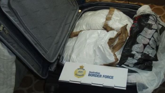 One of two suitcases found by Australian law enforcement officers on board the cruise ship Sea Princess on Aug. 29, 2016. (Australian Border Force)