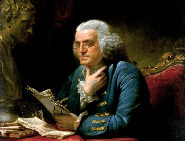 Detail from portrait of Benjamin_Franklin_1767