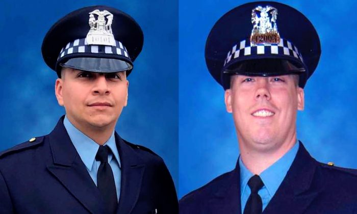 Chicago Police Officers Eduardo Marmolejo (R) and Conrad Gary (L), were fatally struck by a train as they investigated a report of gunshots on the city's far South Side in Chicago, on Dec. 17, 2018. (Chicago Police Department/AP)