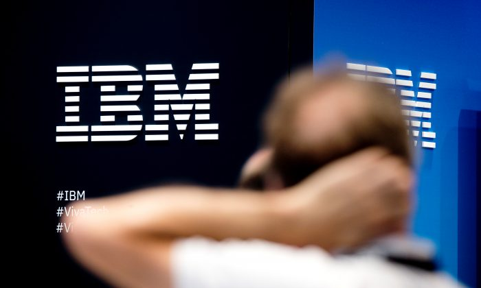 The IBM company logo is pictured during the Viva Tech start-up and technology summit in Paris, France on May 25, 2018. (Charles Platiau/Reuters)