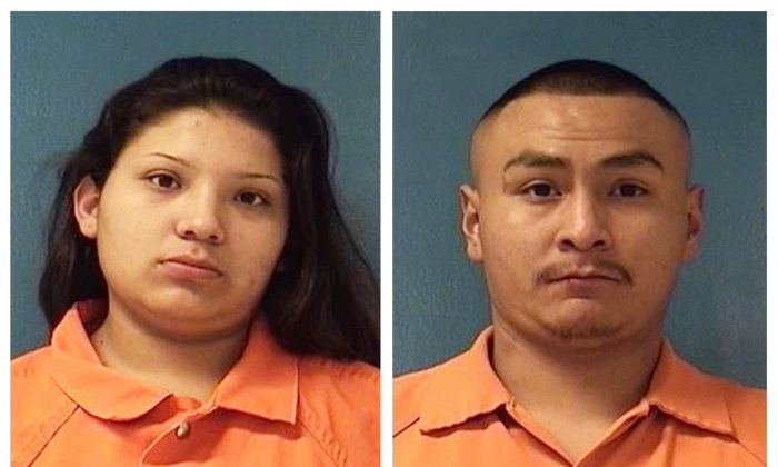 This combination of Saturday, Dec. 8, 2018 booking photos providing by McKinley County Adult Detention Center shows Shayanne Nelson, left, and Tyrell Bitsilly, right. (McKinley County Adult Detention Center via AP)