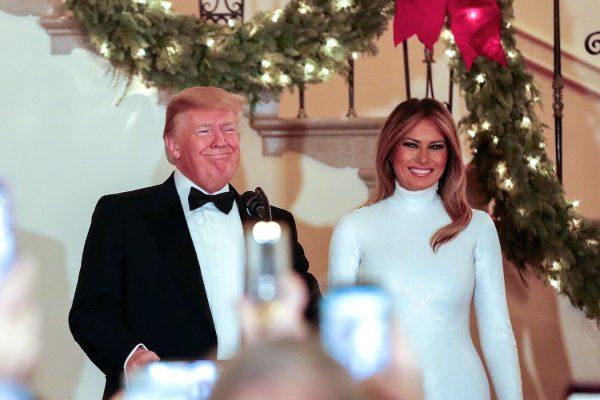 President Trump and Melania greet guests at 2018 congressional ball.