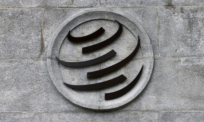 A World Trade Organization (WTO) logo is pictured on their headquarters in Geneva, Switzerland on June 3, 2016. (Denis Balibouse/Reuters)