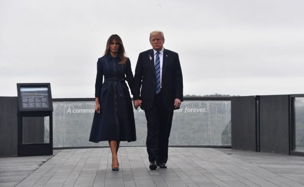 Trump and Melania arrive in Shanksville on 9/11.