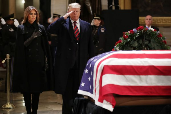 Trump and Melania attend funeral for George HW Bush