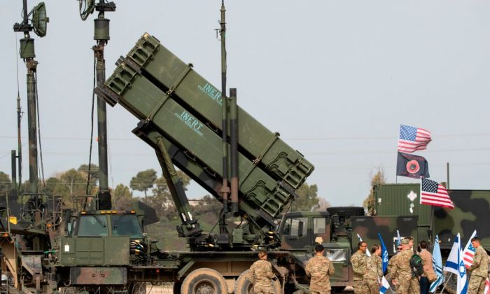US army officers stands in front a US Patriot missile defence system during a joint Israeli-US military exercise 'Juniper Cobra' at the Hatzor Airforce Base on March 8, 2018. (Jack Guez/AFP/Getty Images)