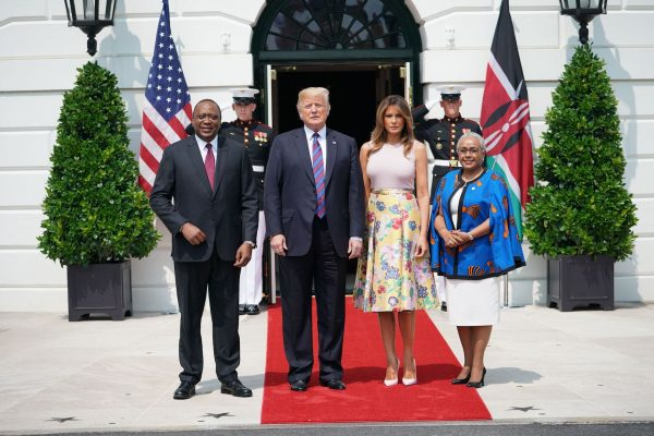 Trump and Melania welcome president and first lady of Kenya.