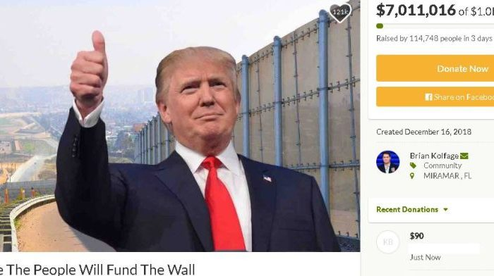 """A GoFundMe page titled, """"We The People Will Fund The Wall,"""" has raised about $7 million out of $1 billion as of Dec. 20. (GoFundMe)"""