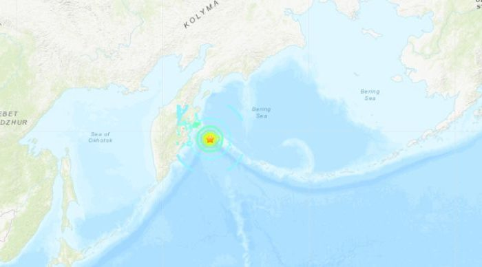 A 7.4 magnitude earthquake hit off the coast of Russia's east coast early Friday local time, triggering a tsunami warning. (USGS)