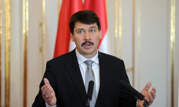 Hungarian President Janos Ader speaks to journalists at the presidential palace in Budapest on April 2, 2013. (Attila Kisbenedek/AFP/Getty Images)