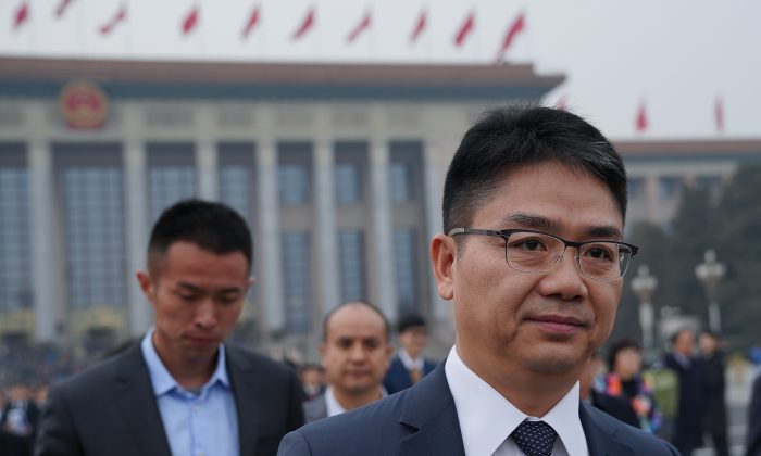 CEO of JD.com Richard Liu Qiangdong arrives at the Great Hall of the People to attend the opening ceremony of the Chinese People's Political Consultative Conference (CPPCC) at The Great Hall of People in Beijing on March 3, 2018. (Lintao Zhang/Getty Images)