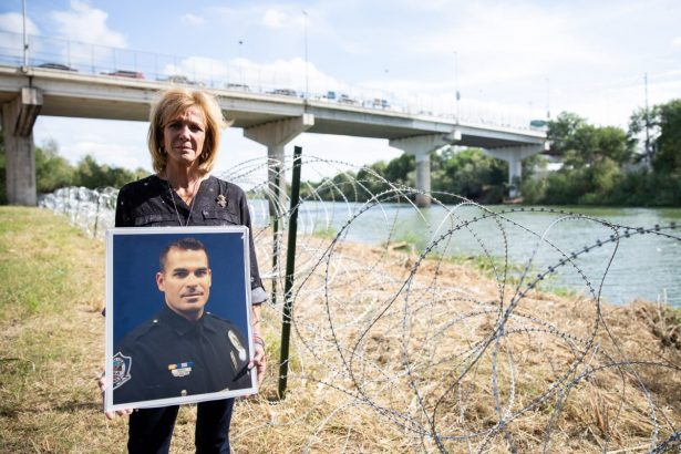 Mary Ann Mendoza, whose son Sgt. Brandon Mendoza was killed by an illegal alien, is next to the Rio Grande, which is the border between the United States and Mexico, in Hidalgo, Texas, on Nov. 5, 2018. (Samira Bouaou/The Epoch Times)
