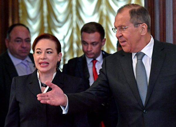 Russian Foreign Minister Sergei Lavrov (R) welcomes his Ecuadorian counterpart Maria Fernanda Espinosa during their meeting in Moscow on May 16, 2018. (Yuri Kadobnov/AFP/Getty Images)