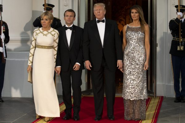 Trump and Melania welcome French president Emmanuel Macron and his wife to the White House.