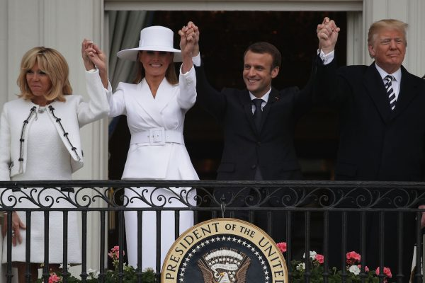 Trump and Melania welcome Emmanuel Macron and his wife to the White House.