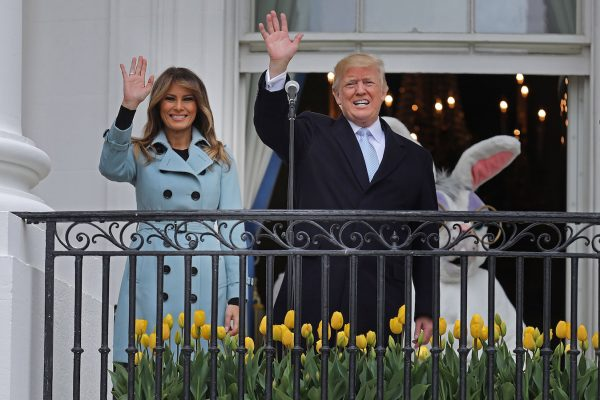 Trump and Melania during the 140th easter egg roll.