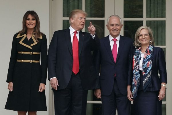 Trump and Melania welcome Australian Prime Minister and his wife.