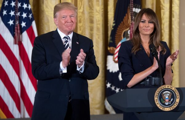 Trump and Melania at event in honor of Military Mothers and Spouses.