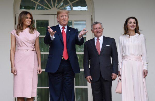 Trump and Melania welcome King Abdullah II and Queen Rania of Jordan.