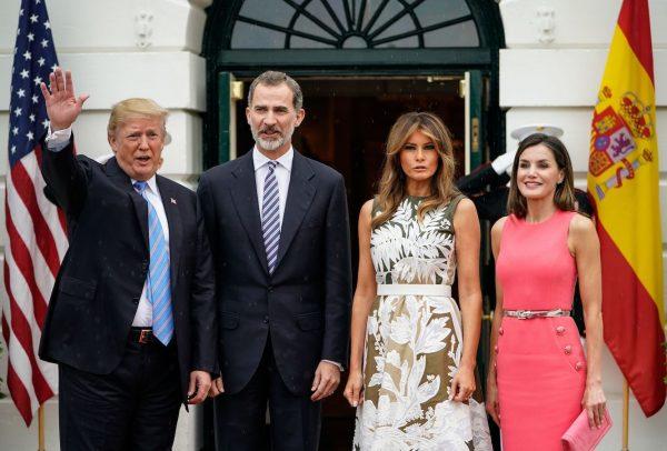 Trump and Melania welcome Spain's King Felipe VI and Queen Letizia.
