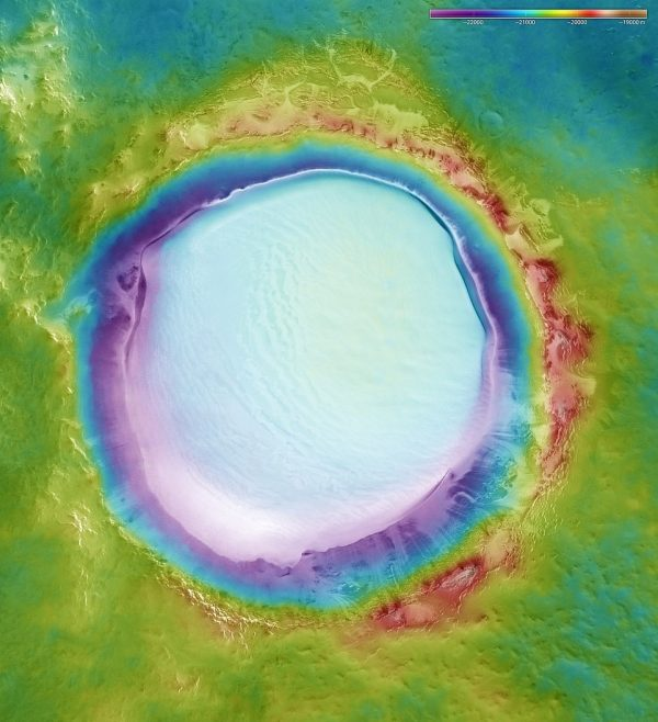 composite image of Mars crater