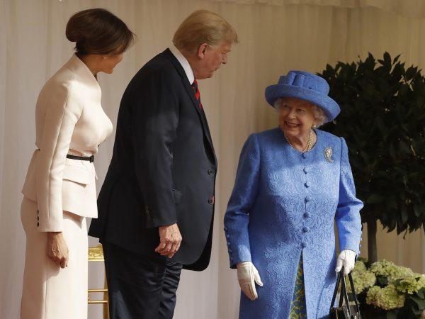 Trump, Melania, and Queen Elizabeth II.