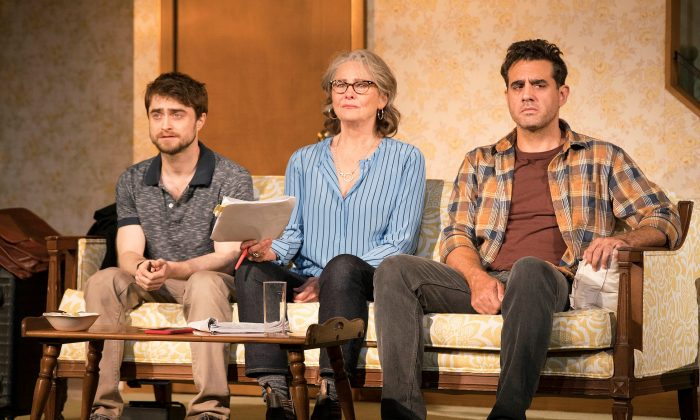 Deadline is approaching, and (L–R) Jim (Daniel Radcliffe) the fact-checker, Emily (Cherry Jones) the editor-in-chief, and John (Bobby Cannavale) the writer all have different goals and viewpoints. (Peter Cunningham)