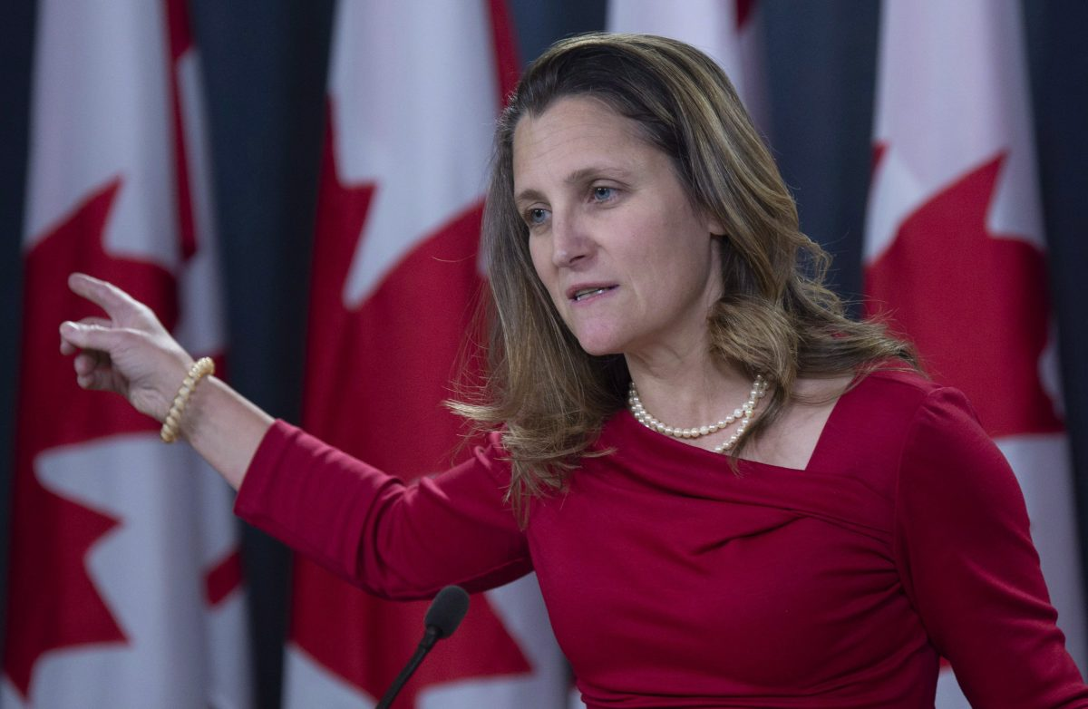 Canadian Minister of Foreign Affairs Chrystia Freeland speaks with the media in Ottawa, on Dec. 12, 2018. (The Canadian Press/Adrian Wyld)