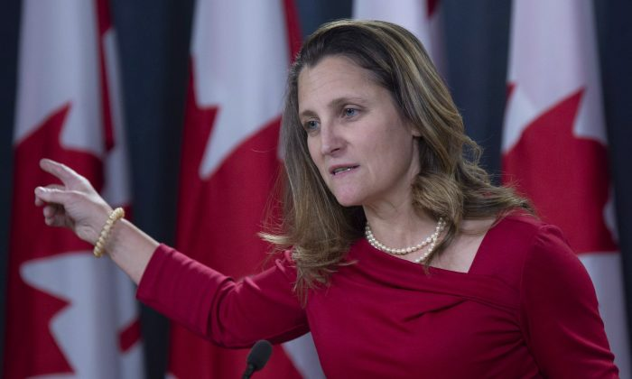 Canadian Minister of Foreign Affairs Chrystia Freeland speaks with the media in Ottawa, on Dec. 12, 2018. Adrian Wyld/The Canadian Press)