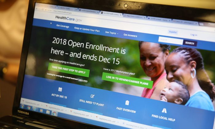 A computer screen shows the enrollment page for the Affordable Care Act on Nov. 1, 2017. (Joe Raedle/Getty Images)