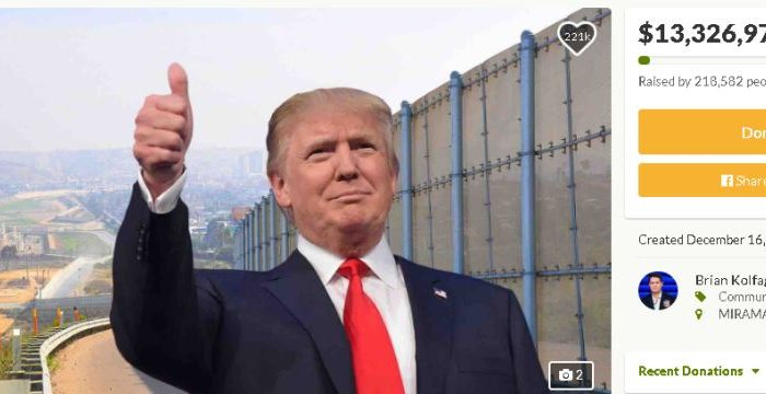 "A GoFundMe page titled, ""We The People Will Fund The Wall,"" has raised $13 million out of the $1 billion required for construction as of Dec. 20, 2018 (GoFundMe)"