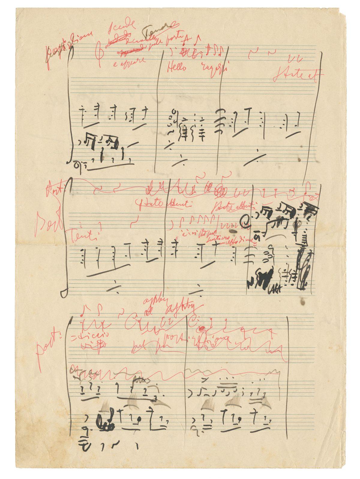 Puccini handwritten score 1908