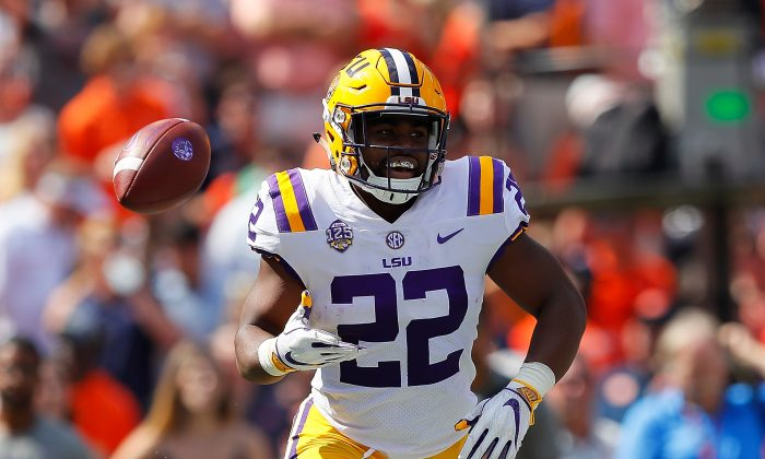 Clyde Edwards-Helaire #22 of the LSU Tigers reacts after rushing for a touchdown against the Auburn Tigers at Jordan-Hare Stadium in Auburn, Alabama on Sept. 15, 2018. (Kevin C. Cox/Getty Images)