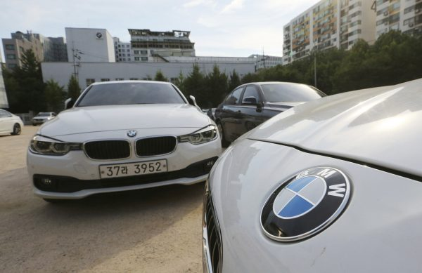 BMW cars are parked