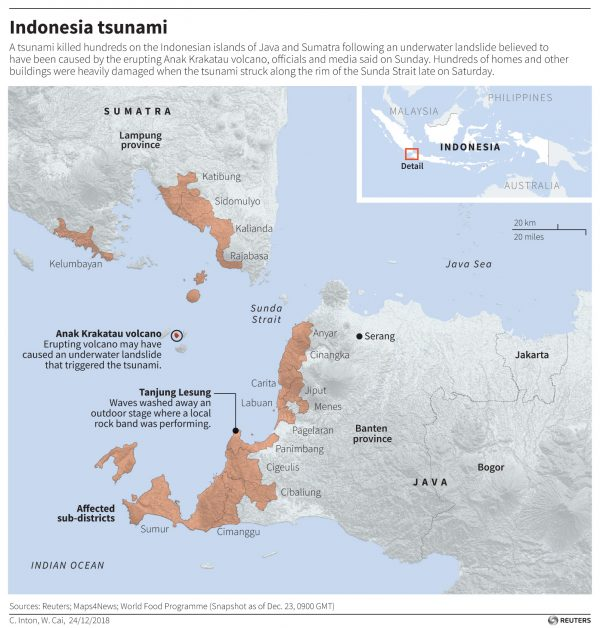 map of the are hit by the tsunami in Indonesia