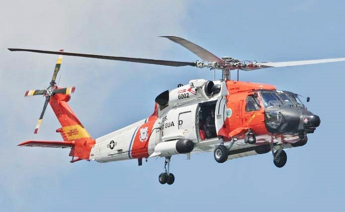 A Coast Guard MH-60 Jayhawk helicopter