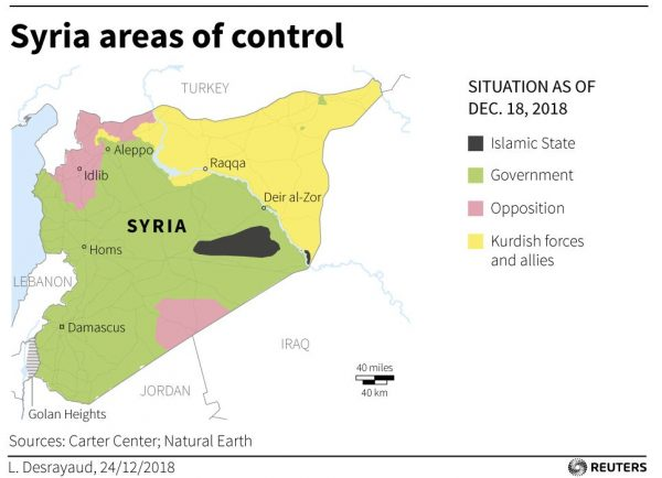 map showing areas of control in Syria