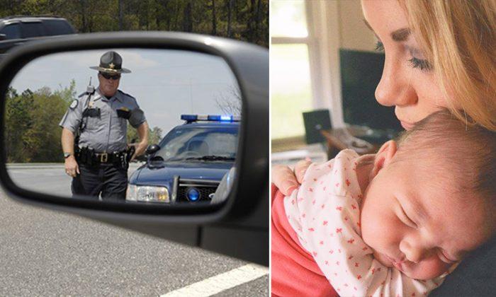 Megan Nierman (R) was pulled over for speeding by the police officer from Hendricks County, Indiana. (L: Illustration, R: Facebook | Megan Nierman Ozkaraca)