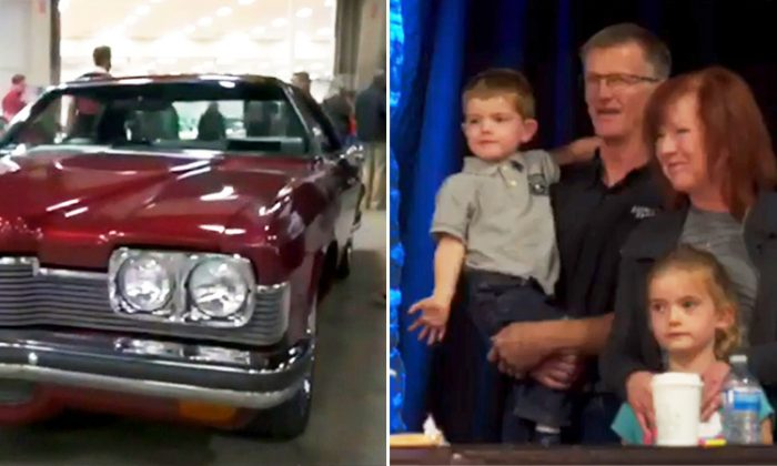 Ben Keryluke drives his grandchildren home in his late son's 1973 Pontiac Parisienne after the auction in Red Deer, Alta. (Facebook Video Screenshot | EG Auctions - egauctions.com)