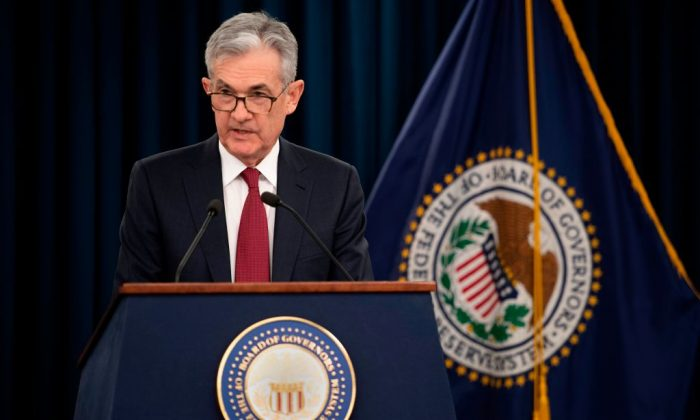US Federal Reserve Board Chairman Jerome Powell holds a news conference after a Federal Open Market Committee meeting in Washington Dec. 19, 2018. (JIM WATSON/AFP/Getty Images)