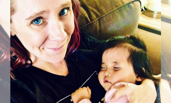 Eryn and Chris Austin (L) adopted Primrose (R) in January 2016 after seeing her photo on a Facebook adoption advocacy group page. (Facebook | Eryn and Chris Austin)
