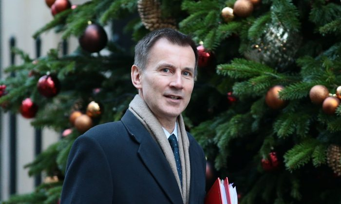 Foreign Secretary Jeremy Hunt arrives at 10 Downing Street in London, on Dec. 4, 2018. (Jack Taylor/Getty Images)