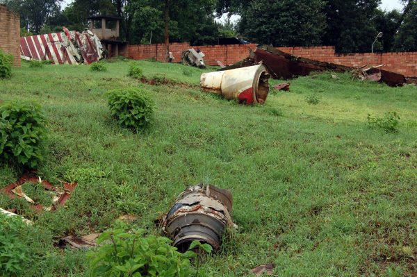 wreckage from the plane the former president of Rwanda died in